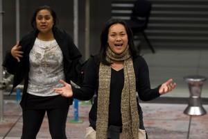 Tupe Lualua (left) and Joanna Mika-Toloa rehearse for The Factory. Photo / Richard Robinson