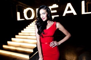 Megan Gale wears an Alex Perry dress at her Sydney début for L'Oreal. Photo / Supplied