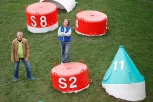 Charlotte Fisher and Erwin van Asbeck say the new installation of buoys has copied their work. Photo / Steven McNicholl