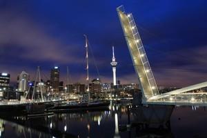 An artist's impression of the Te Wero Bridge illuminated, looking towards the Viaduct. Photo / Supplied
