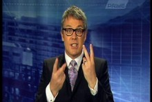 Prime News presenter Eric young makes a two-fingered gesture after an Auckland and Counties-Manukau match preview. Photo / Supplied