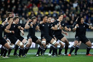 The All Blacks perform Kapa o Pango at Eden Park. Photo / Paul Estcourt