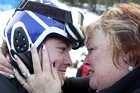 Adam Hall is congratulated by his mother after winning gold at the Vancouver Winter Paralympics. Photo / Getty Images