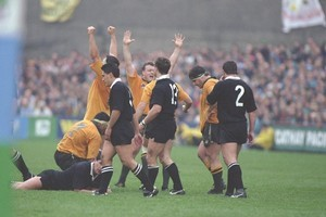 Australia celebrate their victory in the 1991 World Cup semifinal. Photo / Allsport