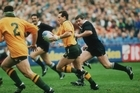 David Campese in full flow against the All Blacks during their semifinal clash at Lansdowne Road.