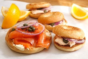 Lots of lox with cream cheese and bagels, makes a delicious breakfast. Photo / Janna Dixon