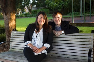 Quijing Wong and Dean Easterbrook at Tin Tacks Park, Onehunga. Photo / Paul Estcourt