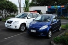 The J2 Chery SUV (left) and the J1 hatchback. Photo / Supplied