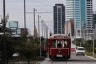 A tram on the Boulevard, North Wharf, at new the Wynyard Quarter. Photo / Brett Phibbs