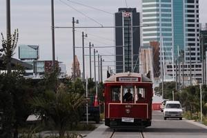 A tram on the Boulevard, North Wharf, at new the Wynyard Quarter. Photo / Brett Phibbs