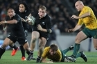 All Black prop Owen Franks breaks the Australian defence at Eden Park. Photo / Paul Estcourt