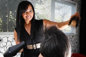 Freelance hairdresser Amelia Motuliki says that over time you create a bond with a client. Photo / Sarah Ivey