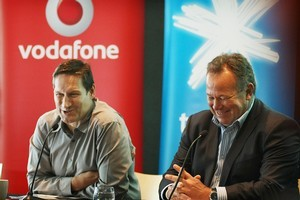 Vodafone CEO Russell Stanners and Chorus CEO Mark Ratcliffe at  the announcement of the group approach to rural broadband. Photo / Greg Bowker