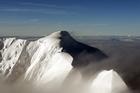 View of Aoraki Mount Cook Canterbury from the air. Photo / Doug Sherring