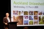 Mayor Len Brown unveils the council's draft plan for Auckland. Photo / APN