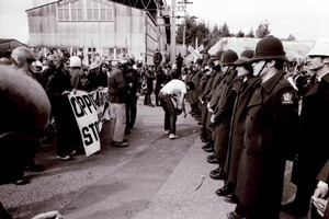 Police form a line in front of protesters. Springbok tour September 9, 1981. Photo / APN