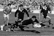Michael Jones scores his first World Cup try, against Italy in 1987, the opening game.