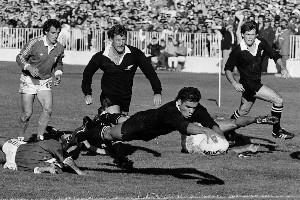 Michael Jones scores his first World Cup try, against Italy in 1987, the opening game. Photo / John Stone