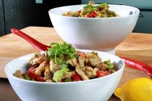 Dijon & chilli marinaded nutty chicken stir fry & soba noodles. Photo / Supplied