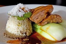 The Maple Room's sticky chicken with rice. Photo / Richard Robinson