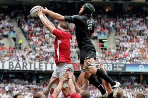 Alun-wyn Jones of Wales and Tom Palmer of England jump for a lineout during the team's friendly. Photo / Getty Images