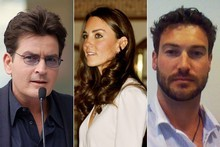 People who've grabbed my online attention this year include (L-R) Charlie Sheen, Catherine, Duchess of Windsor and expat Kiwi Cameron Leslie. Photos / Creative Commons image by Angela George, AFP, Supplied