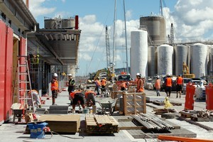 Construction of North Wharf in the Wynyard Quarter. Photo / Brett Phibbs