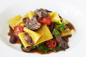Braised lamb shank pappardelle with kalamata olives, tomatoes and preserved lemon. Photo / Supplied