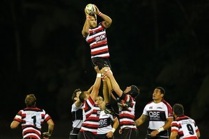 Counties Manukau's Adam Cathcart wins a lineout against North Harbour during an ITM Cup rugby match tonight in Auckland Photo / NZPA / Wayne Drought
