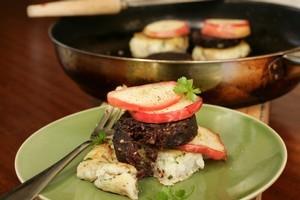 Black Pudding with Fried Apple and Parsley Potato Cake. Photo / Janna Dixon