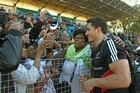 Sonny Bill Williams is greeted by All Black supporters in Port Elizabeth. Photo / Getty Images