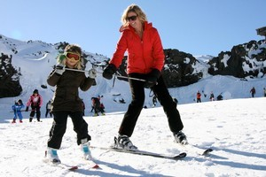 Beginners learn to ski on the slopes of Mt Ruapehu. Photo / Supplied
