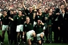 The South African Team celebrate after winning the Rugby World Cup final in 1995. Photo / Getty Images