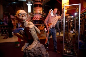 Shop manager Tim Launder in the new Weta Workshop store. Photo / Dean Purcell