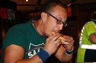 Rob Puru had to scoff three pies to win. Photo / Supplied
