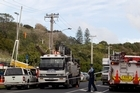 The scene on Normanby Road  in Mt Eden. Photo / Richard Robinson
