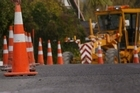 Mt Eden's summit road has been closed for the installation of new judder bars. Photo / Duncan Brown