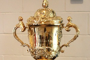 The William Webb Ellis Trophy. But which one went on tour? Photo / NZ Herald