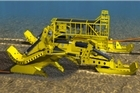 Computer generated image of a cable plough laying cable on the sea bed. Photo / Supplied