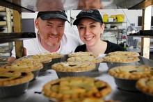 Shane and Kathy Kearns from Viands Bakery in Kihikihi. Photo / Christine Cornege 
