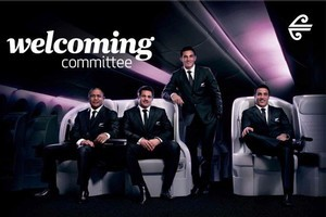 Familiar faces on Air New Zealand's All Black billboard will greet World Cup fans arriving at Auckland Airport. Photo / Supplied