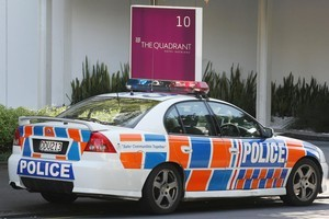 Police at The Quadrant apartments on Waterloo Quadrant in Auckland where Mohammad Hamid-Zadeh killed his faltmate in October last year. Photo / Greg Bowker