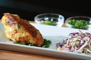 Wasabi stuffed chicken breast on peanut slaw. Photo / Supplied