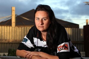 Keirran Stafford says she suffered a neck injury after a sideline brawl while dressed as Kahu, the Hawke's Bay Magpies mascot. Photo / Hawke's Bay Today