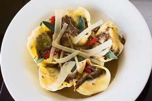 Tortelloni of Italian sausage and silverbeet with porcini cream at Delicious. Photo / Paul Estcourt