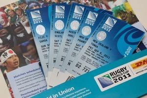 Rugby World Cup 2011 match tickets. Photo / Brett Phibbs