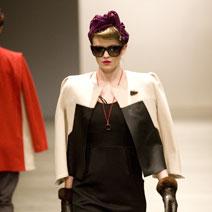 A model wears a creation by Deryn Schmidt in the New Generation fashion show. Photo / Babiche Martens
