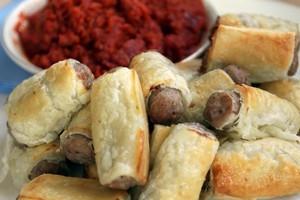 Drew's fast freedom farms sausage rolls. Photo / Doug Sherring
