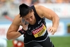 Valerie Adams erupts in delight after her 21.24m throw cemented her shot put triumph at the world championships in South Korea. Photo / Getty Images