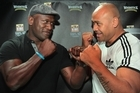 Wendell Sailor and Jonah Lomu size each other up as they prepare for the 2011 Fight for Life. Photo / Brett Phibbs